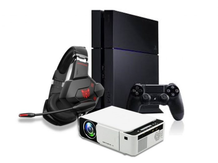 Sony PlayStation 4 + Gaming Headphones + TechX  Pro X HD Projector