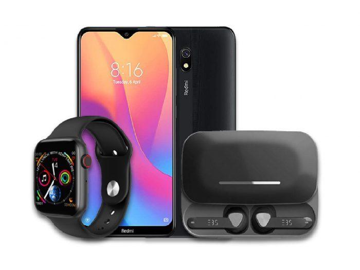 Redmi 8A +EBS Bluetooth Earpods + Android Smart Watch