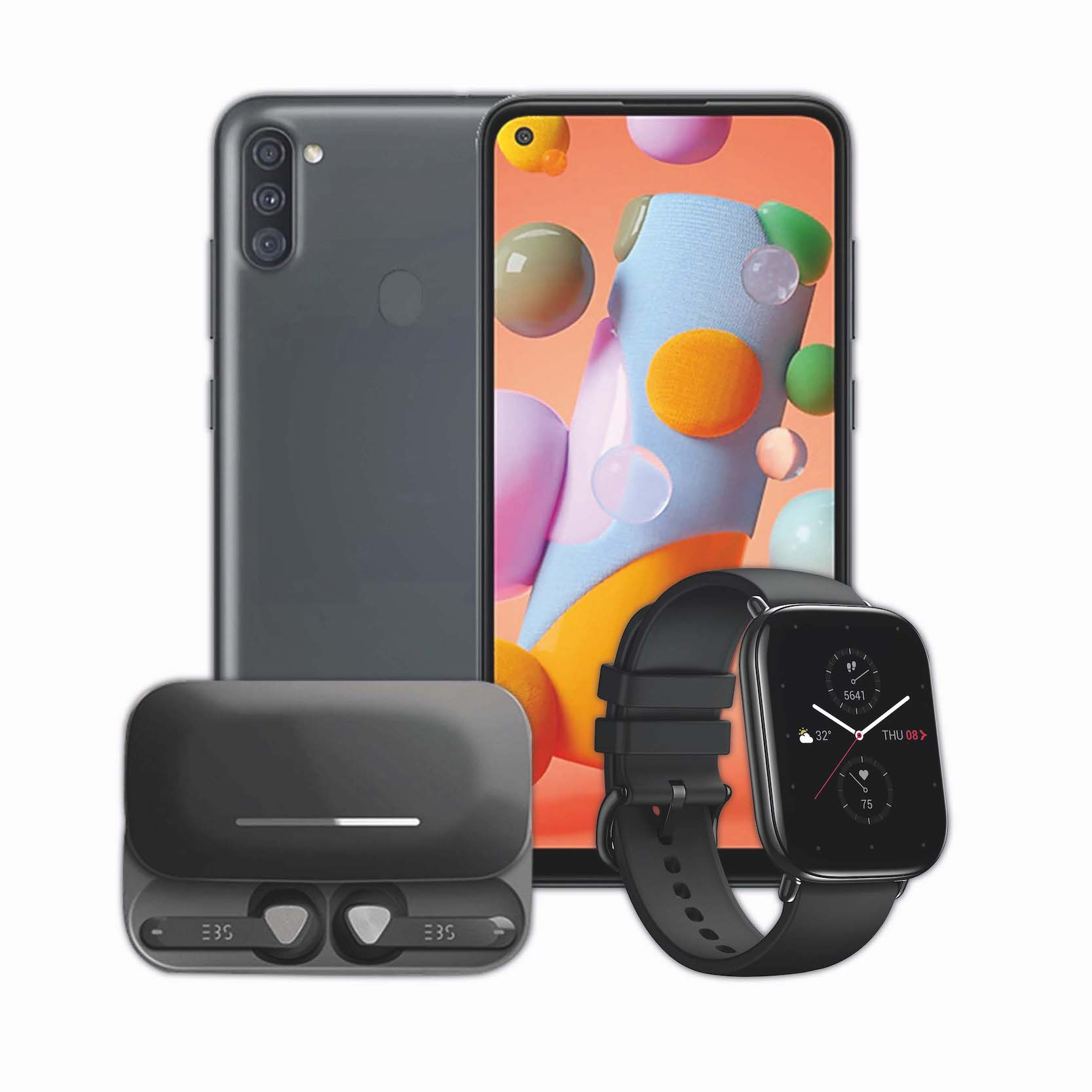 Samsung Galaxy A11 + EBS Earpods + Smart Watch