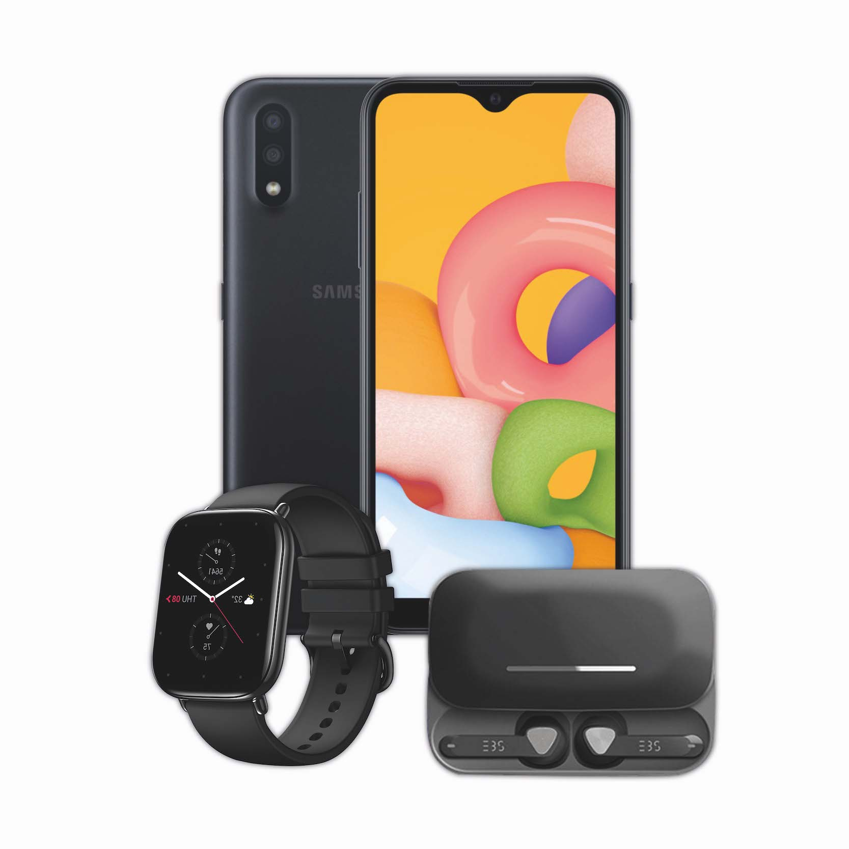 Samsung Galaxy A01 + EBS Earpods + Smart Watch