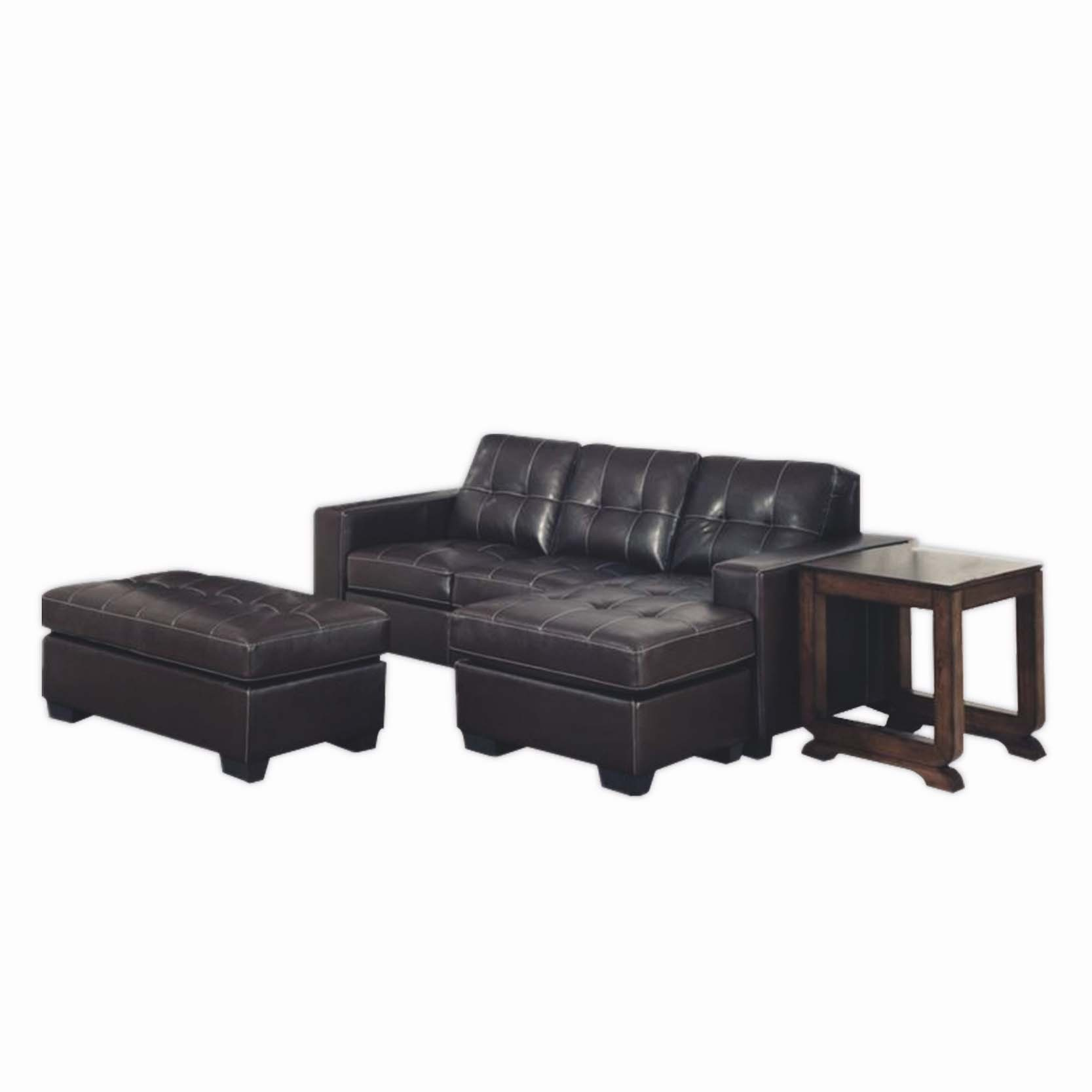 3 Seater Leather Lounge Suite with Ottoman