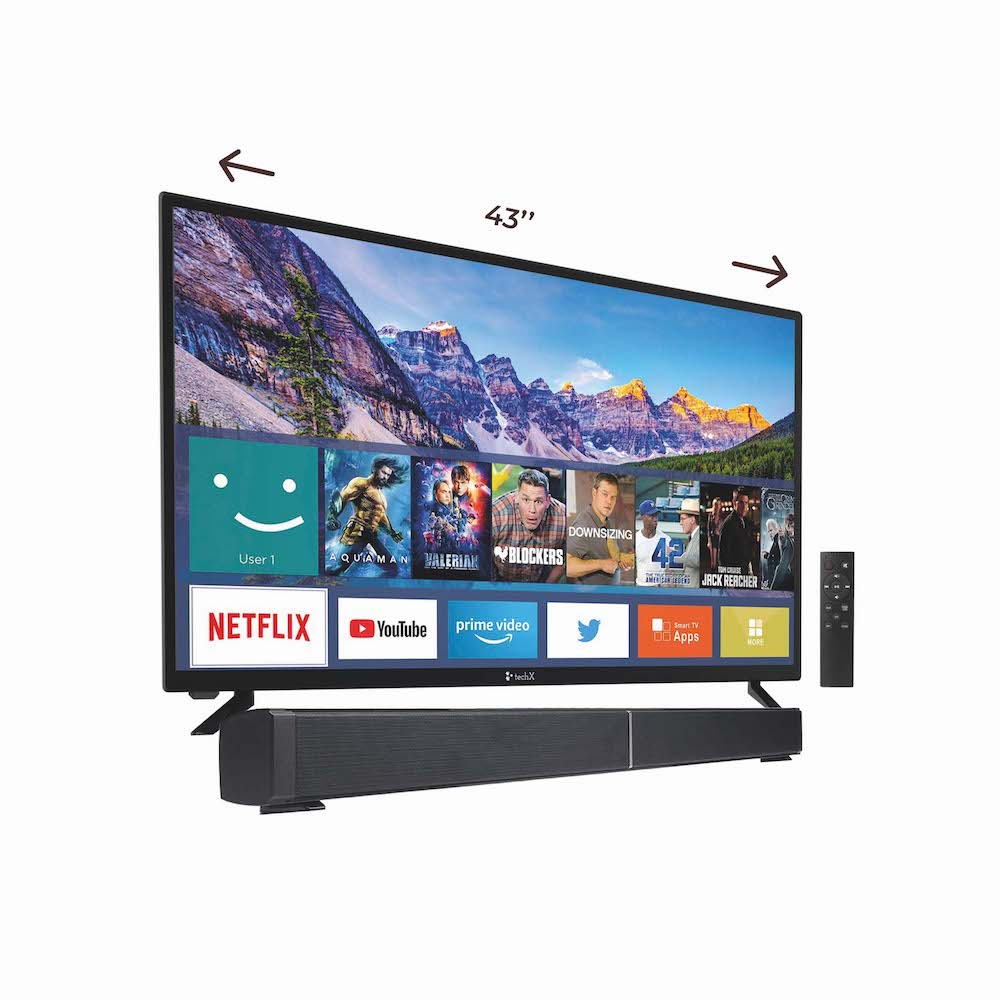 TechX 43″Smart TV + TechX 30″ Sound Bar